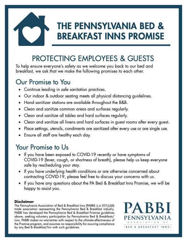 pdf file of our B&B promise for COVID-19 recovery and reopening